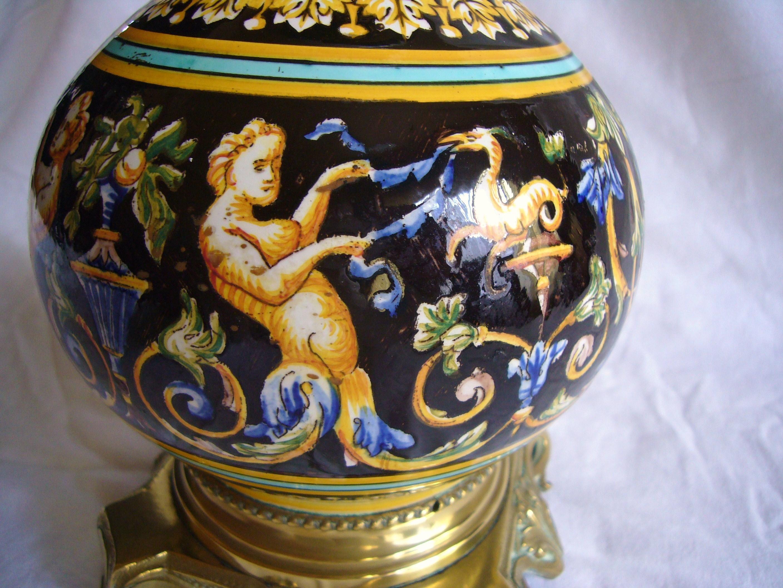 le a petrole faience gien renaissance bronze globe ebay