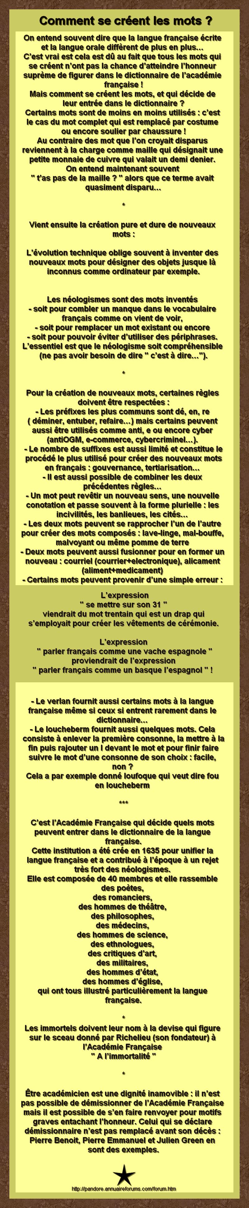 Comment se creer les mots academie francaise - Comment se creer le vent ...